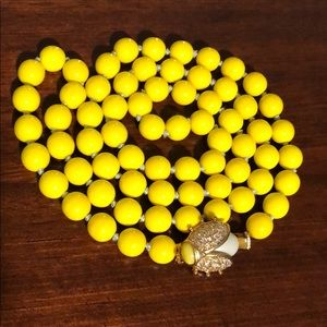 J Crew Yellow necklace w/bug charm excellent cond.